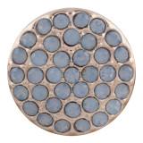 20MM plaqué or rose rond avec opale bleue KC5670 s'encliquette bijoux