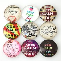 10pcs printed glass colorful snaps chunks -KEEP CALM MIX 25 types arts design pattern