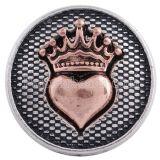 20MM Loveheart and Cross snap Antique Silver y joyería de broches KC6264 chapados en oro rosa