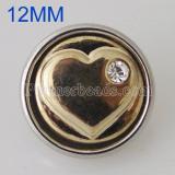 12MM Loveheart Snap Antik vergoldet mit Strass KB5508-S Snaps Schmuck