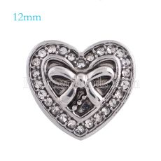 12mm loveheart snaps Silver Plated with white rhinestone KS5104-S snap jewelry