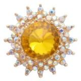 Diseño 20MM chapado en oro chapado con diamantes de imitación amarillos KC6936 broches de joyería