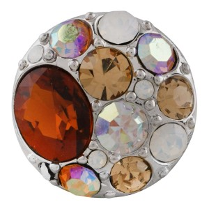 Ruban à pression rond 20MM plaqué de strass coloré KC5661 marron