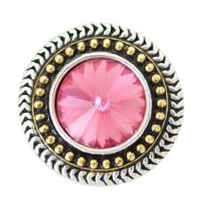 20MM Round snap Antique Silver Plated avec strass rose-rouge KB6909 snaps jewelry