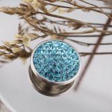 18mm Sugar snaps Сплав со светло-голубыми стразами KB2310 оснастка ювелирных изделий