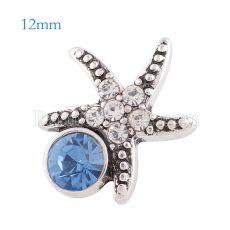 12MM Starfish snap Antique astilla plateada con diamantes de imitación azul KS6173-S broches de joyería
