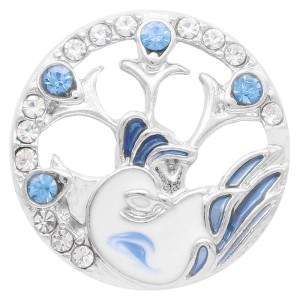 20MM  Peacock snap Silver Plated with rhinestone and blue enamel KC7901 snaps jewelry