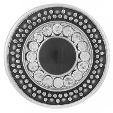 20MM Round snap Antique Silver Plated with black and clear rhinestone KB6146 snaps jewelry