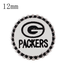 12MM Team snap Plateado con esmalte negro KS8064-S broches de joyería