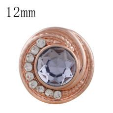 12MM round Rose Gold Plated with light purple rhinestone KS6284-S snaps jewelry