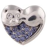 20MM broche de gato plateado con diamantes de imitación púrpura KC5519 broches de joyería