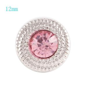 12MM Round snap Silver Plated with pink rhinestone KS6036-S snaps jewelry