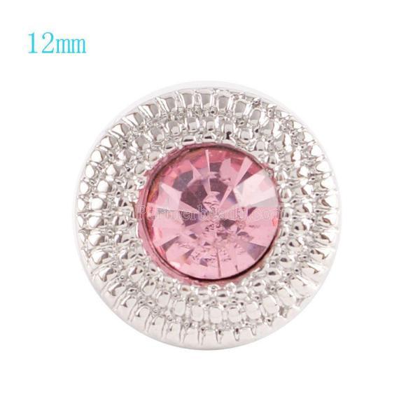 12MM Broche redondo plateado con diamantes de imitación rosa KS6036-S broches de joyería