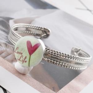 20MM Сердце с росписью эмалью по металлу C5355 с принтом на защелках