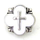 20MM DS5081 bouton-pression en croix argenté avec bijoux en émail blanc, boutons-pression interchangeables