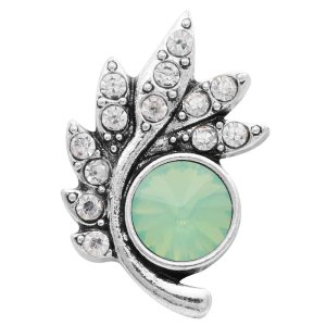 Diseño 20MM chapado en plata con diamantes de imitación verdes KC6569 broches de joyería