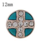 12MM cruz de oro rosa plateado con diamantes de imitación y esmalte cian KS6333-S