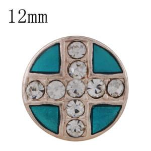 12MM croix or rose plaqué avec strass et émail cyan KS6333-S