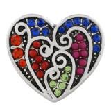 20MM Heart snap Plateado con diamantes de imitación de colores KC7556 Multicolor