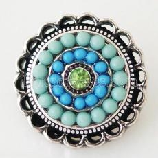 20MM Round snap Antik Silber Überzogen mit Strass und blauen kleinen Perlen KB6396 schnappt Schmuck