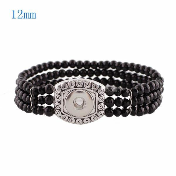 1 Knöpfe Druckknöpfe versilbert mit Perlen und kleinen Perlen Armband KS0921-S passen zu 12MM Druckknöpfen