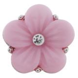 20MM Flower Snap Versilbert mit pinkem Acryl und Strass KC9757 Snaps Schmuck