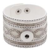 Partnerbeads 21CM Armbänder aus weißem Leder passen zu 18 / 20MM Snaps Chunks. KC0293 Snaps Jewelry