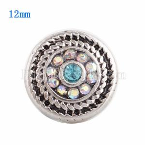 12MM Round snap Silver Plated with blue Rhinestone KS9617-S snaps jewelry