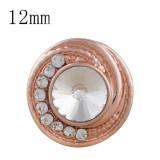 12MM rund Rosé Vergoldet mit weißem Strass KS6286-S Druckknöpfen