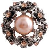 Broche de flores 20MM Plateado plata antigua con diamantes de imitación naranjas y perlas KC7334 broches de joyería