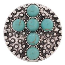 20MM Cross snap Silver Plated avec cyan Turquoise KC8568 snaps jewelry