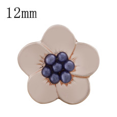 12MM Flower snap Rose Gold Plated with purple beads KS9710-S snaps jewelry