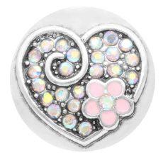 20MM loveheart snap Plateado con esmalte de diamantes de imitación rosa KC7793 broches de joyería