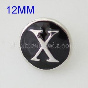 Хрусталь 12mm X Античное серебро с покрытием эмалью KB6684-S