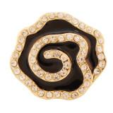 20MM Flor de oro chapado con diamantes de imitación y esmalte KC7663 se ajusta a presión