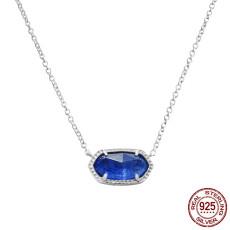 S925 Collier en argent sterling avec pendentif Elisa style Kendra Scott en argent avec lapis-lazuli GM5005 0.8 * 1.5cm taille du pendentif