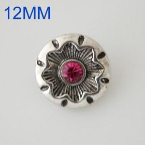 Broches de flores 12mm Chapado en plata antigua con diamantes de imitación rosa KB6635-S joyería rápida