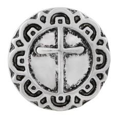 20MM bouton en croix plaqué argent KC7622 bouton pression