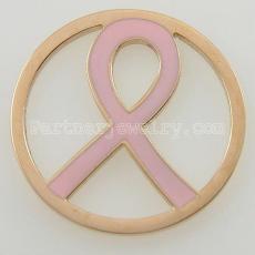 Los encantos de monedas de acero inoxidable 33MM se ajustan a la cinta rosa del tamaño de la joyería