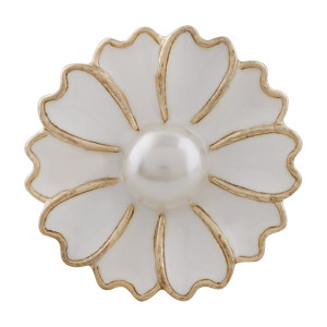 20MM flower snap gold Plated with pearl and white enamel KC9867 snaps jewelry