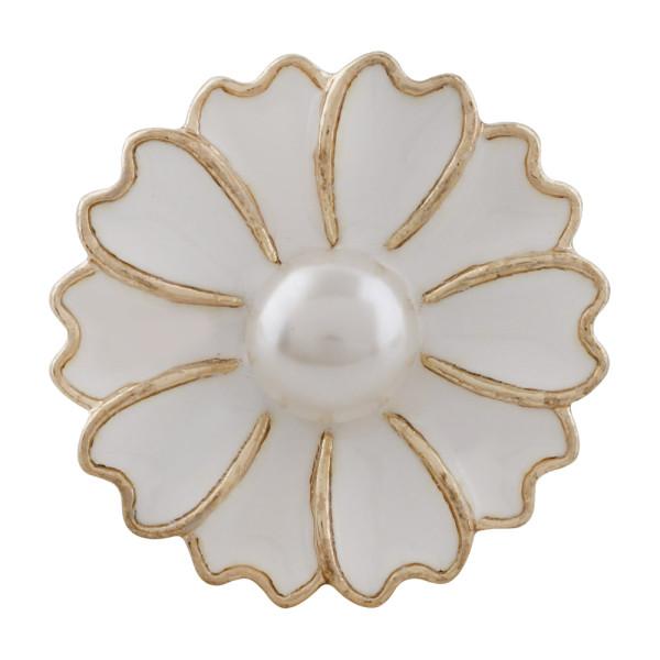 20MM Flower Snap Gold Plated mit Perle und weißer Emaille KC9867 Snaps Schmuck