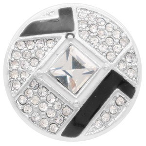 20MM design snap Silver Plated with white rhinestone KC7916 snaps jewelry