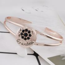 20MM grand-mère en plaqué or rose avec strass noir KC7537 s'encliquette bijoux