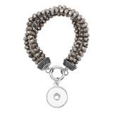 Grey Crystal Bead elastisches Seil verstellbare Armband Fit 20MM schnappt Stücke KC0816