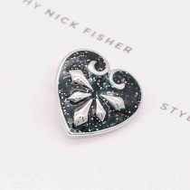 20MM loveheart snap Silver Plated avec émail bleu KC7784 snaps bijoux