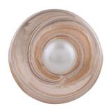 20MM redondo chapado en oro rosa con perlas KC5706 broches de joyería
