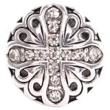 20MM Cross snap Antique Silver Plated with white Rhinestones KC6166 snaps jewelry