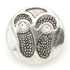 20mm flip flopsl snap Antique Silver Plated avec strass blanc KB8898 s'enclenche bijoux