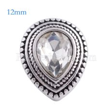 12MM Drop snap Antique Silver Plated with white rhinestone KS6132-S snaps jewelry