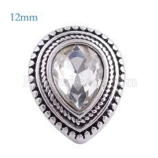 12MM Drop snap Chapado en plata antigua con diamantes de imitación blancos KS6132-S broches de joyería